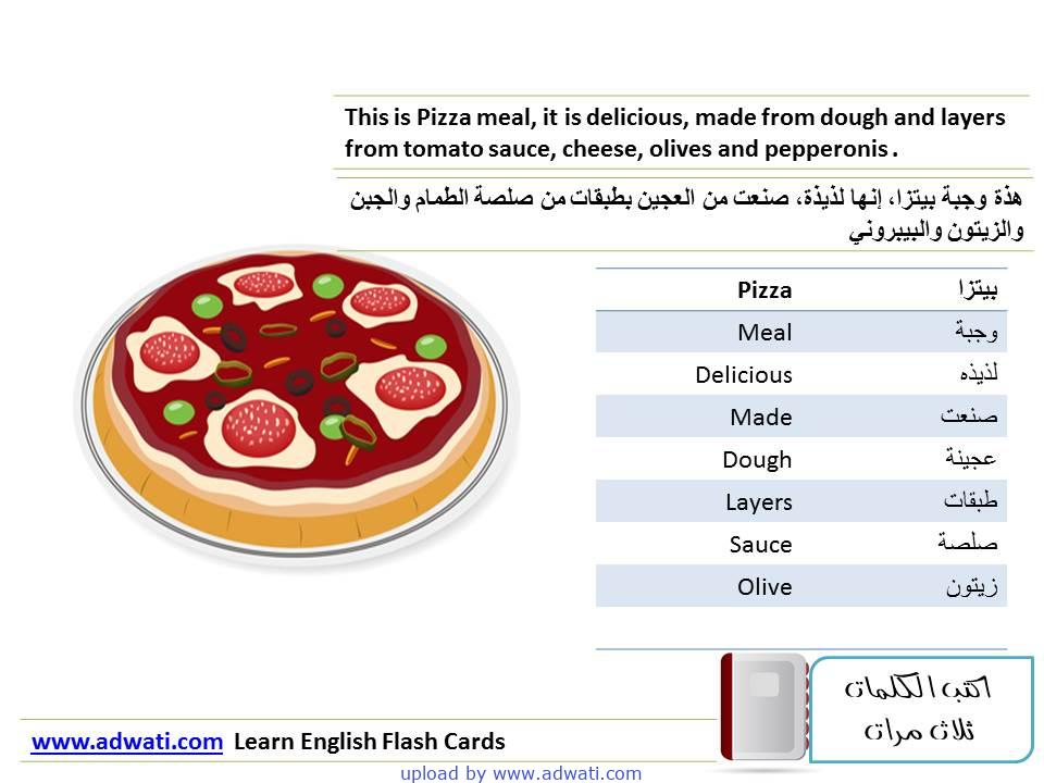 learn English flash cards Pizza