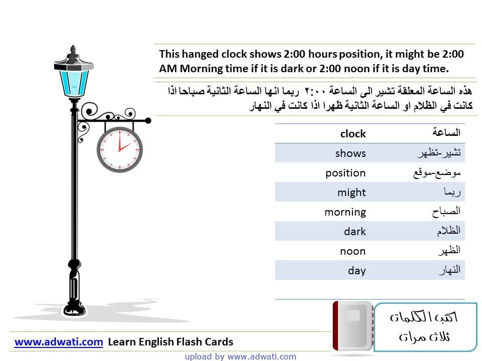 learn English flash cards the hanged clock